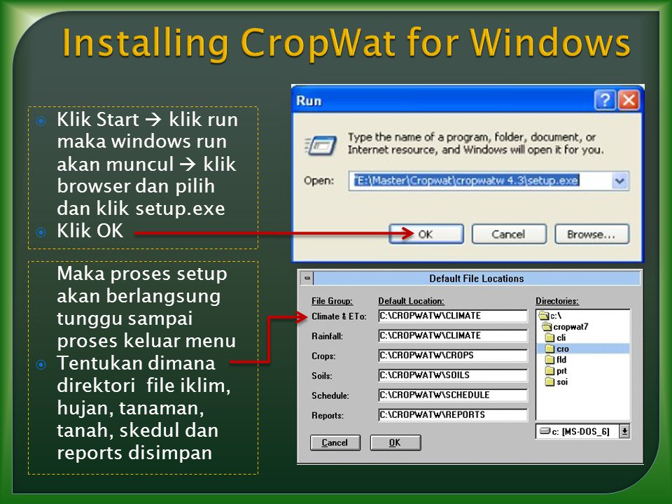Installing CropWat for Windows