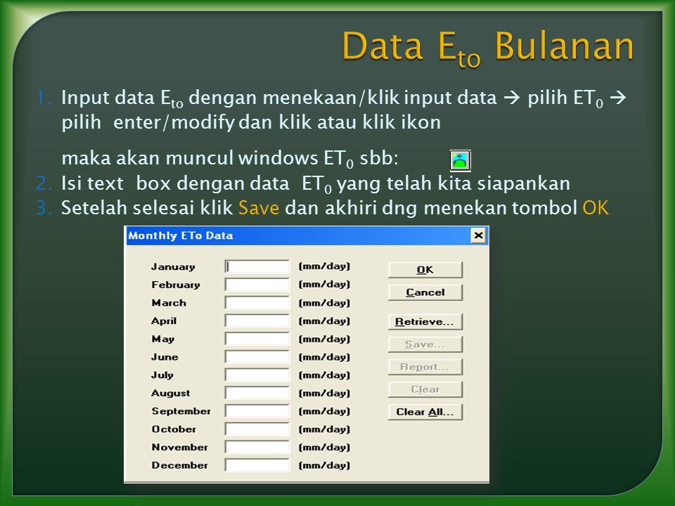 Data Eto Bulanan Input data Eto dengan menekaan/klik input data  pilih ET0  pilih enter/modify dan klik atau klik ikon.