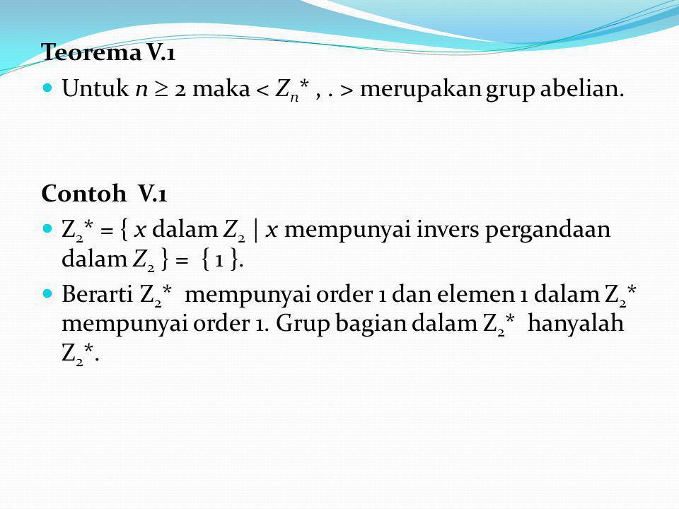 Teorema V.1 Untuk n  2 maka < Zn* , . > merupakan grup abelian. Contoh V.1.