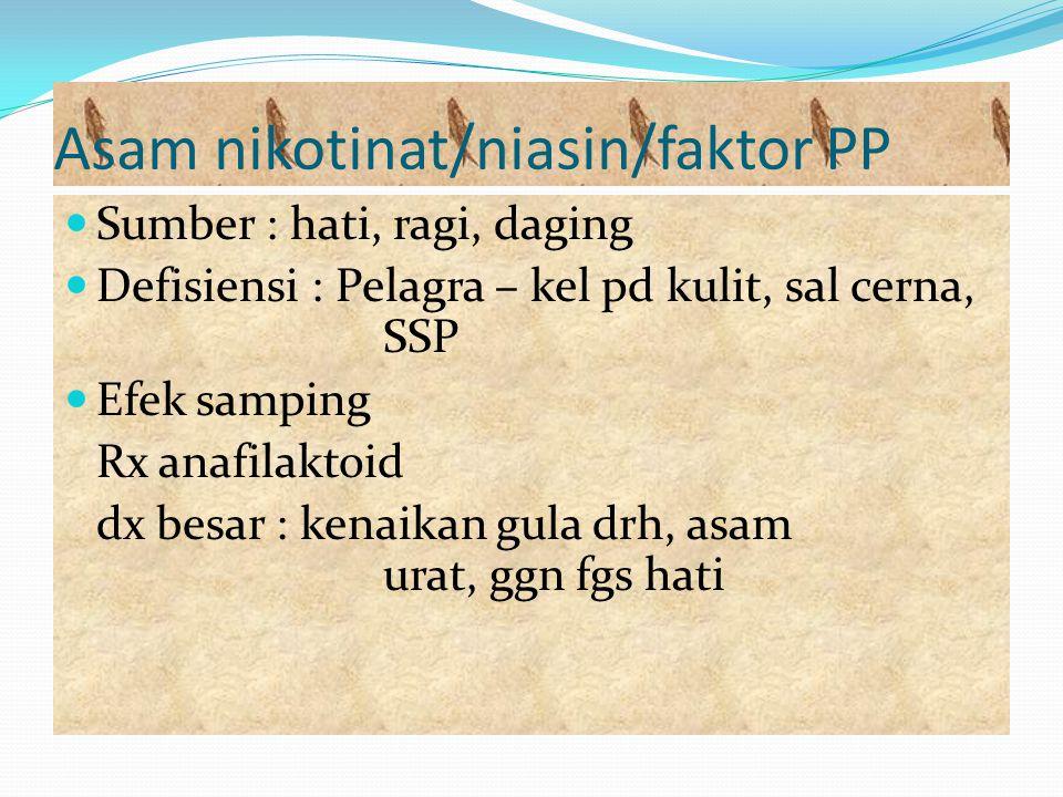Asam nikotinat/niasin/faktor PP