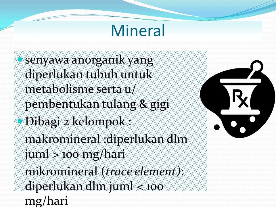 Mineral senyawa anorganik yang diperlukan tubuh untuk metabolisme serta u/ pembentukan tulang & gigi.