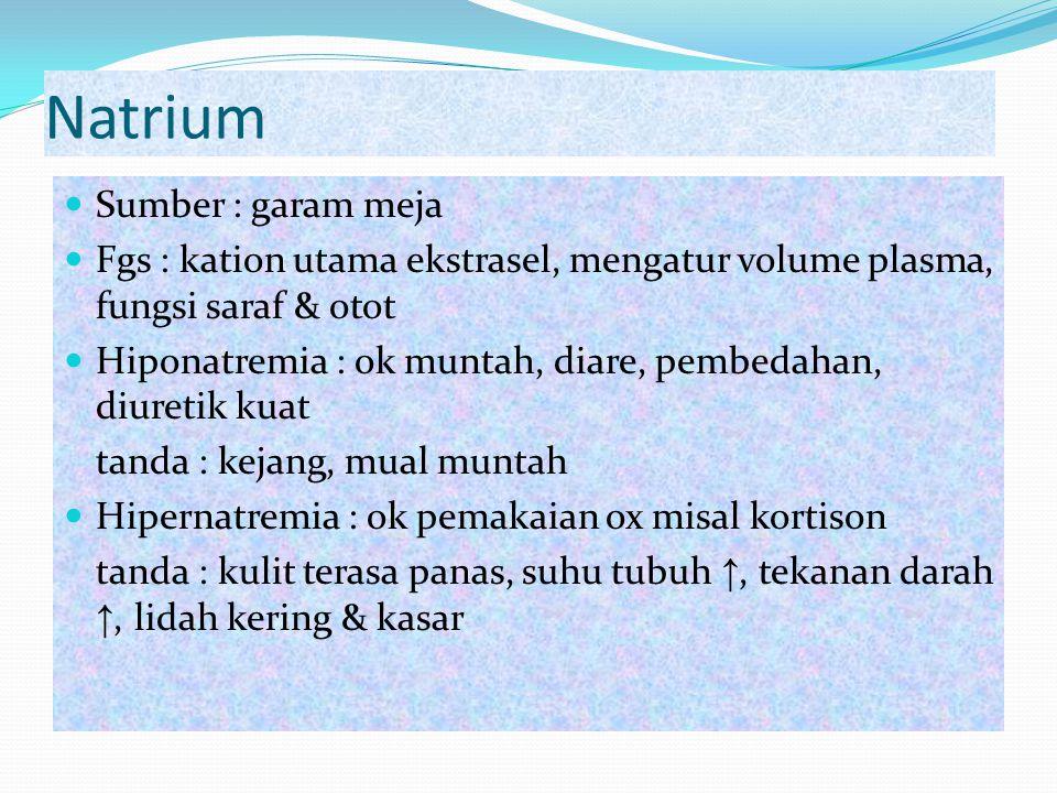 Natrium Sumber : garam meja