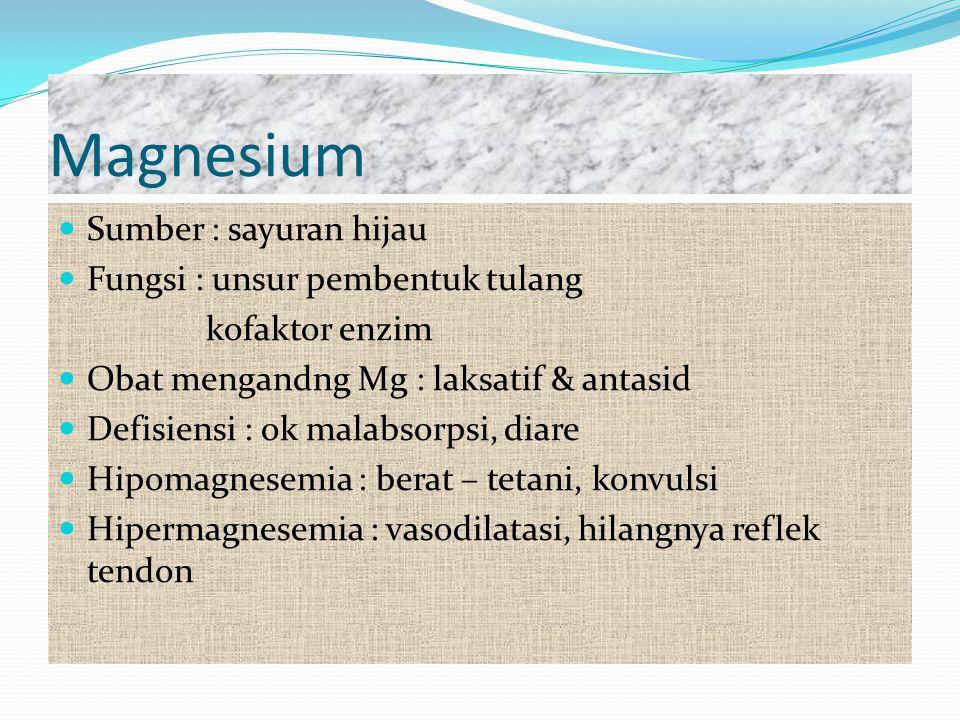 Magnesium Sumber : sayuran hijau Fungsi : unsur pembentuk tulang
