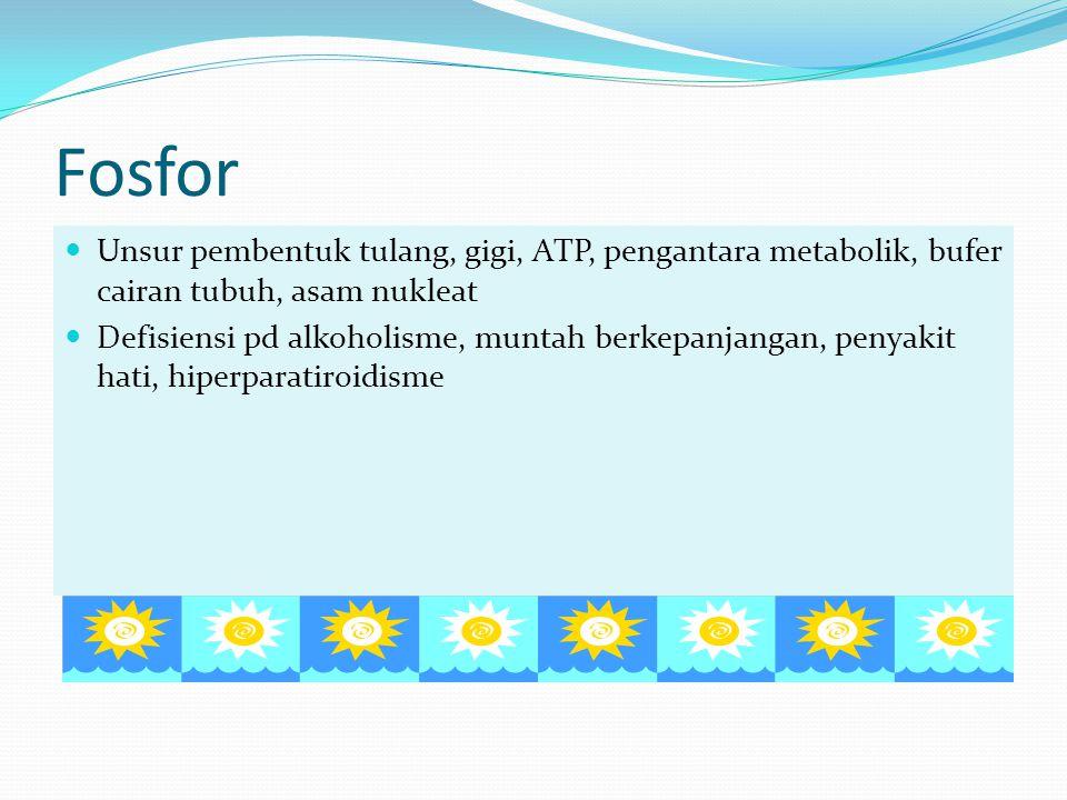 Fosfor Unsur pembentuk tulang, gigi, ATP, pengantara metabolik, bufer cairan tubuh, asam nukleat.