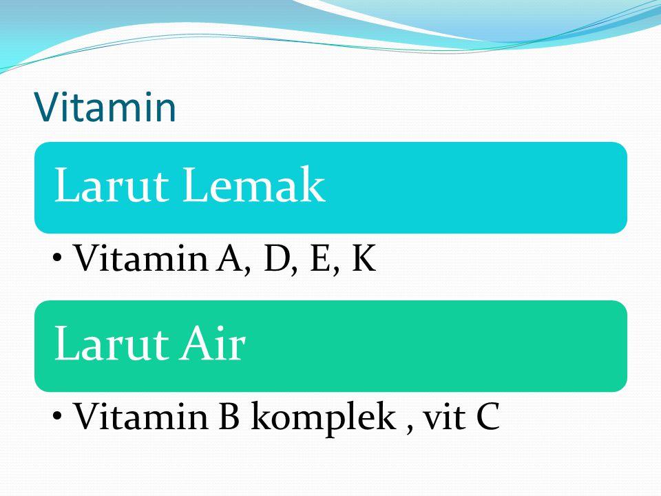 Vitamin Larut Lemak Vitamin A, D, E, K Larut Air