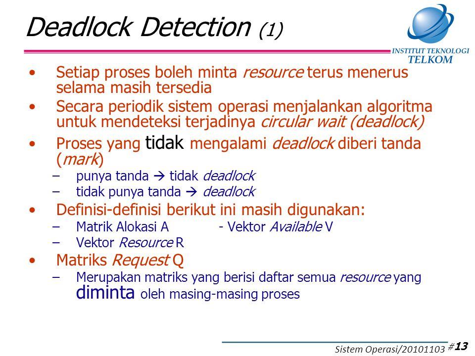 Deadlock Detection (2) Strategi pada deadlock detection: