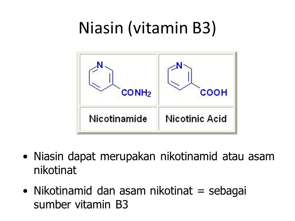 Niasin (vitamin B3) Niasin dapat merupakan nikotinamid atau asam nikotinat.