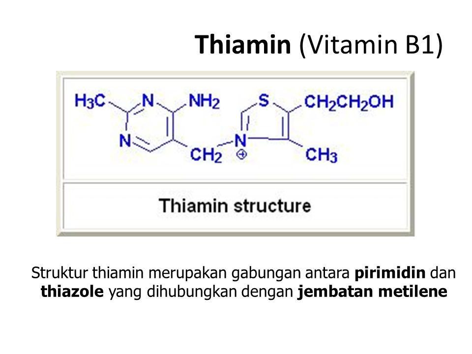 Thiamin (Vitamin B1) Struktur thiamin merupakan gabungan antara pirimidin dan thiazole yang dihubungkan dengan jembatan metilene.