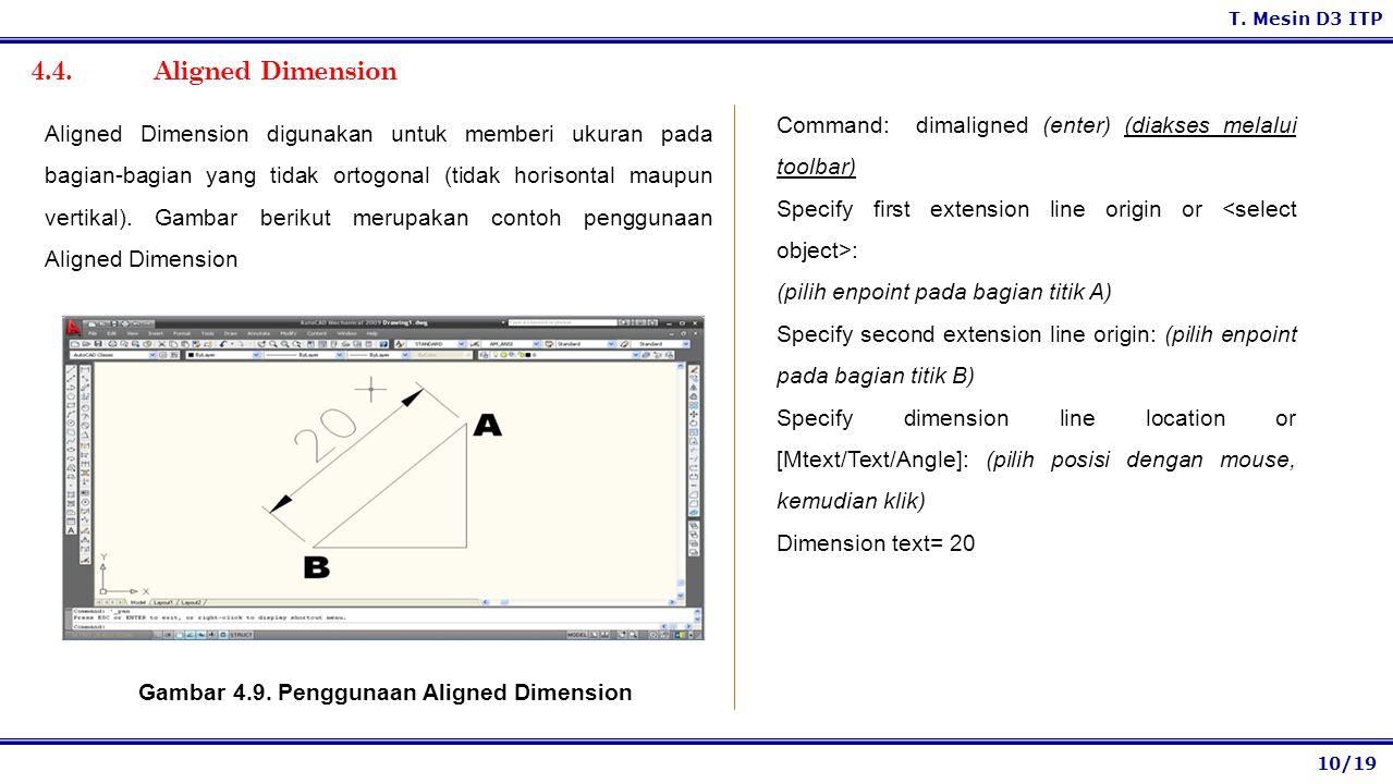Gambar 4.9. Penggunaan Aligned Dimension