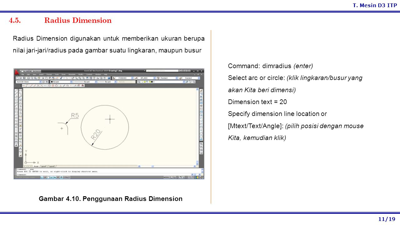 Gambar 4.10. Penggunaan Radius Dimension