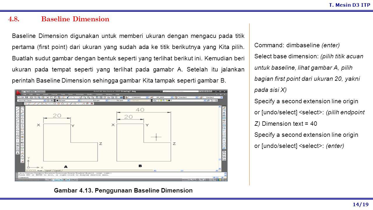 Gambar 4.13. Penggunaan Baseline Dimension