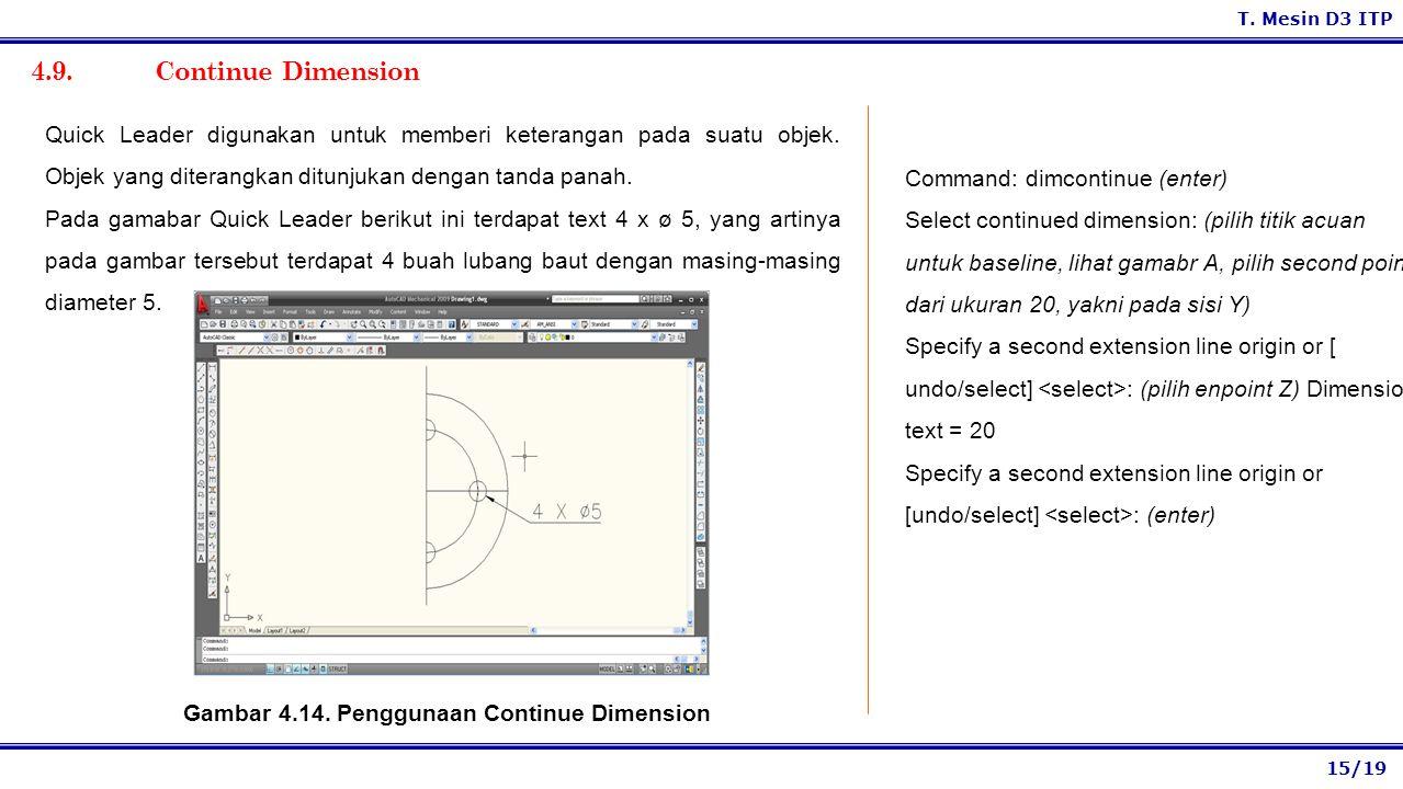 Gambar 4.14. Penggunaan Continue Dimension