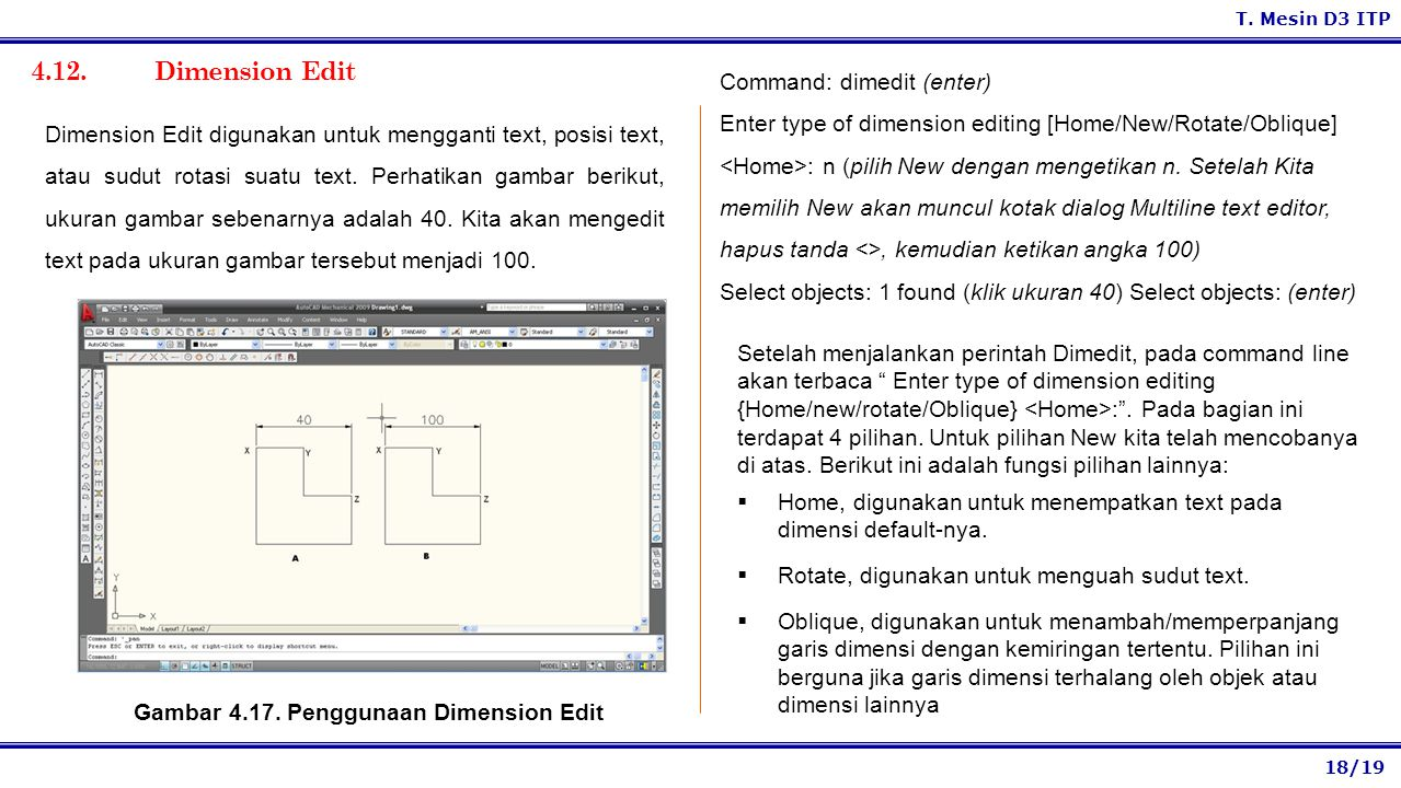 Gambar 4.17. Penggunaan Dimension Edit