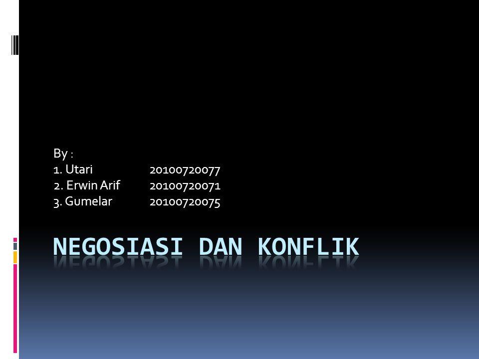 NEGOSIASI DAN KONFLIK By : 1. Utari 20100720077