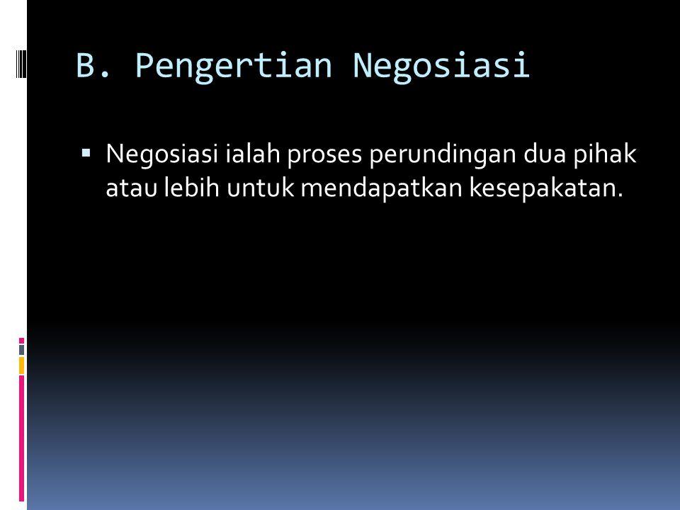 B. Pengertian Negosiasi