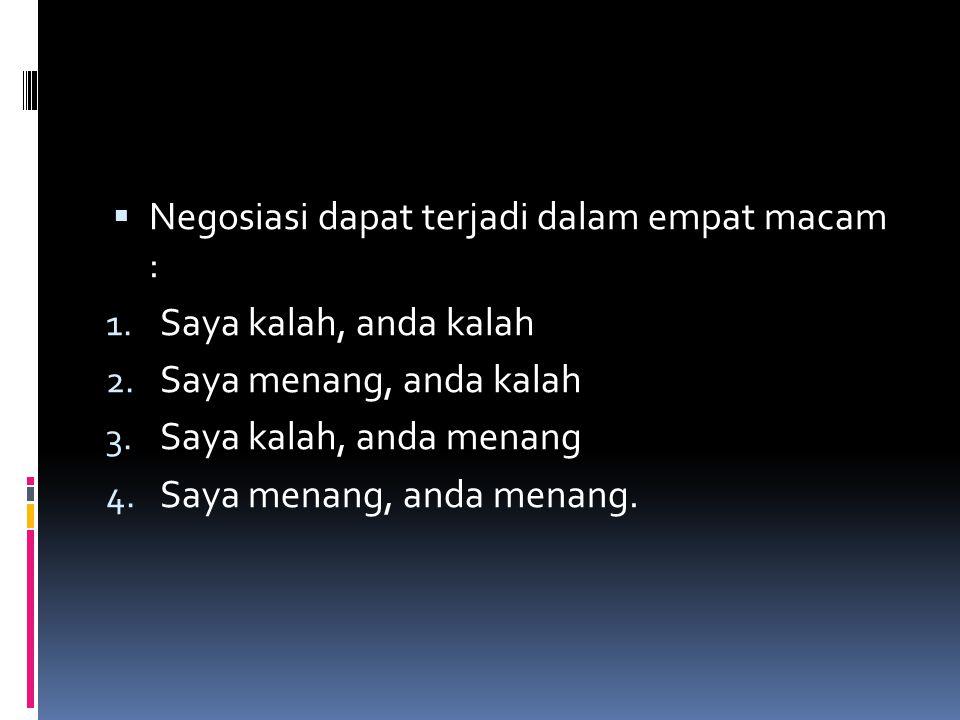 Negosiasi dapat terjadi dalam empat macam :