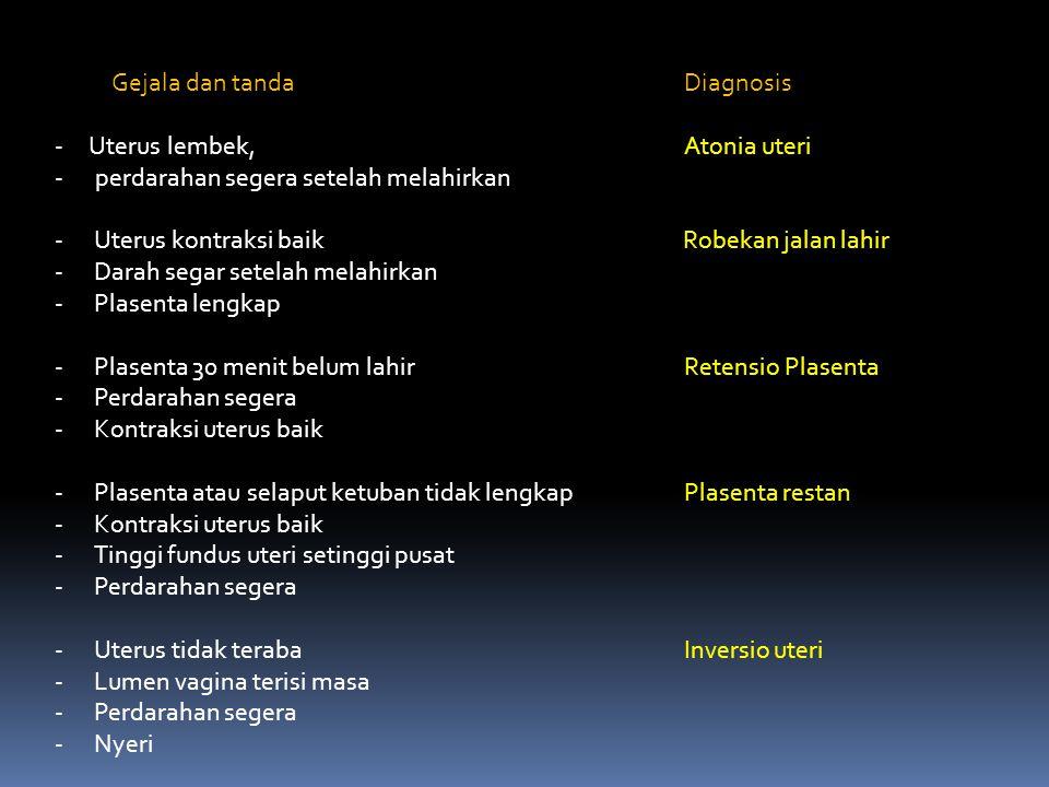 Gejala dan tanda Diagnosis