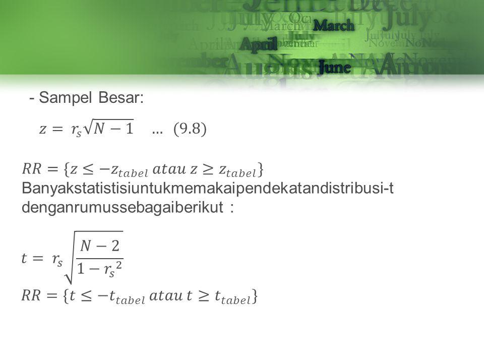 - Sampel Besar: 𝑧= 𝑟 𝑠 𝑁−1 … (9.8) 𝑅𝑅={𝑧≤− 𝑧 𝑡𝑎𝑏𝑒𝑙 𝑎𝑡𝑎𝑢 𝑧≥ 𝑧 𝑡𝑎𝑏𝑒𝑙 }