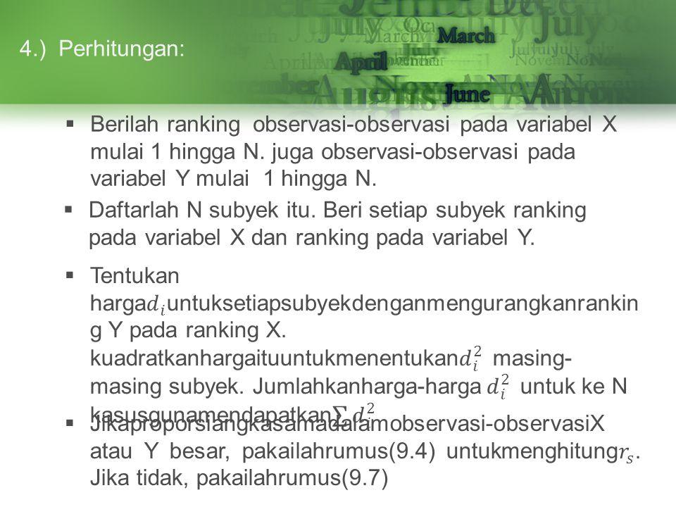 4.) Perhitungan: Berilah ranking observasi-observasi pada variabel X mulai 1 hingga N. juga observasi-observasi pada variabel Y mulai 1 hingga N.