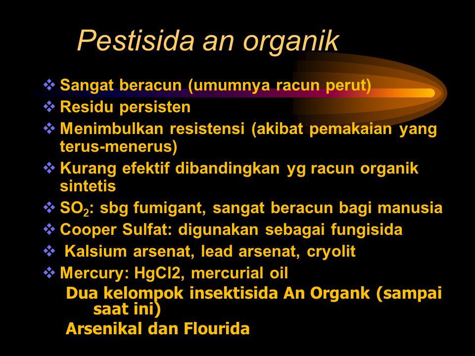 Pestisida an organik Sangat beracun (umumnya racun perut)
