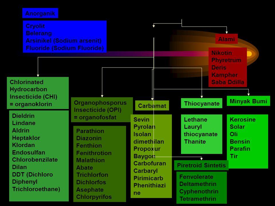 Anorganik Organik. Cryolit. Belerang. Arsinikel (Sodium arsenit) Fluoride (Sodium Fluoride) Sintetis.