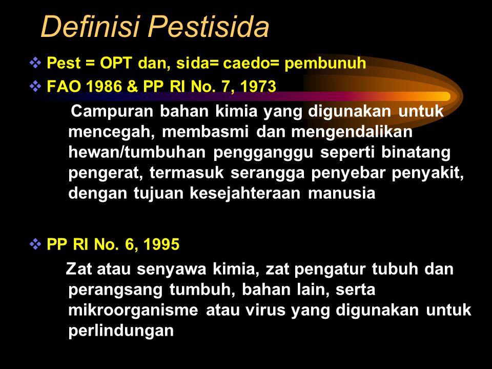 Definisi Pestisida Pest = OPT dan, sida= caedo= pembunuh