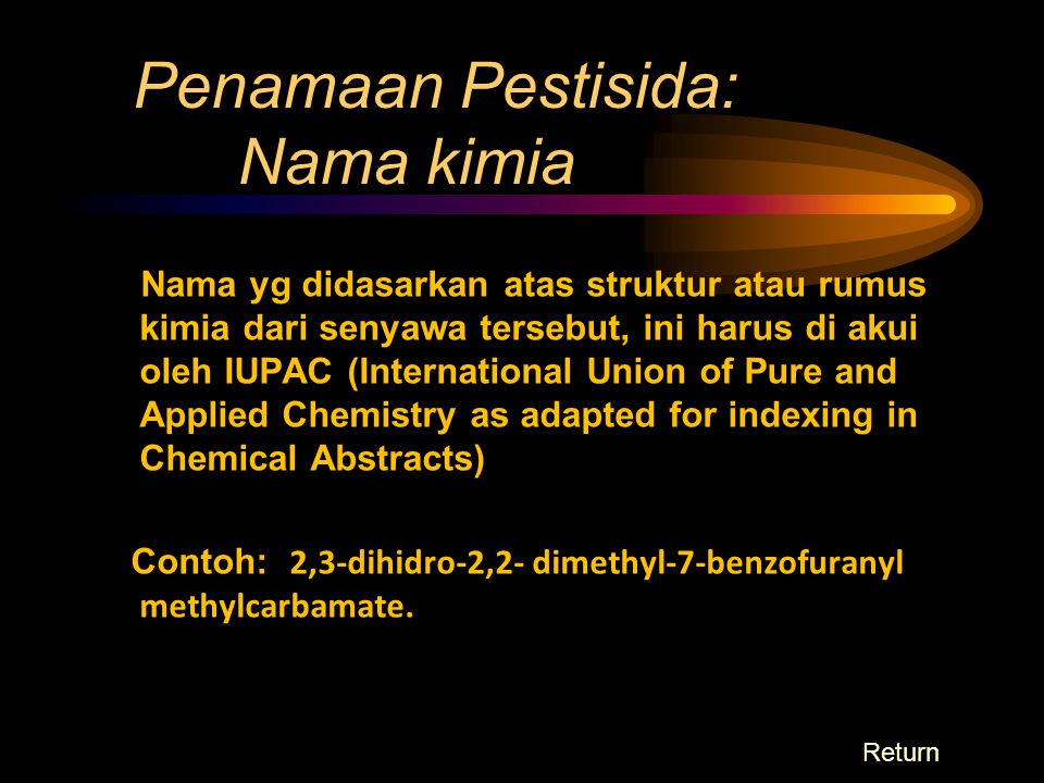 Penamaan Pestisida: Nama kimia