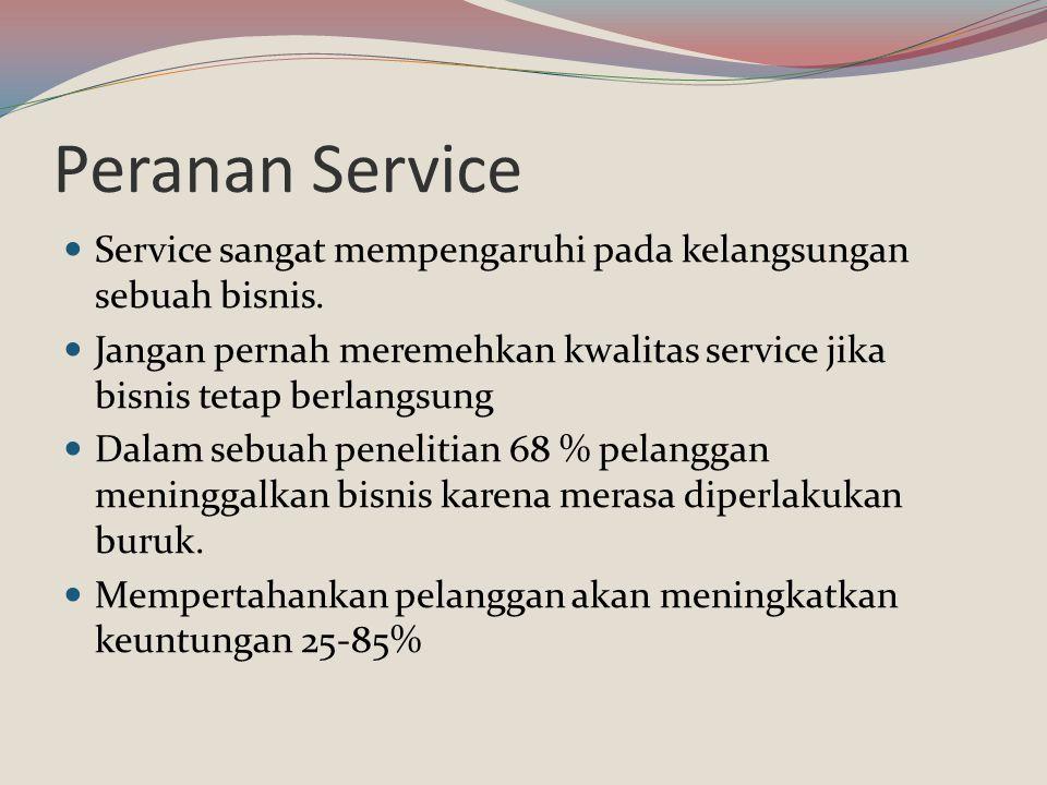 Peranan Service Service sangat mempengaruhi pada kelangsungan sebuah bisnis. Jangan pernah meremehkan kwalitas service jika bisnis tetap berlangsung.