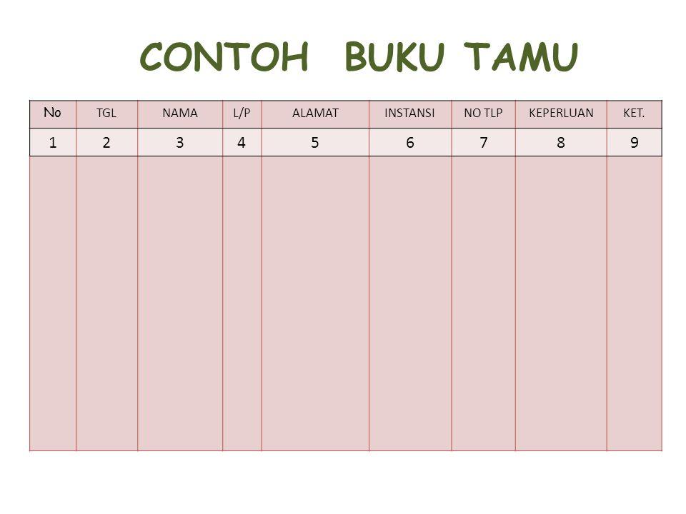 CONTOH BUKU TAMU 1 2 3 4 5 6 7 8 9 No TGL NAMA L/P ALAMAT INSTANSI