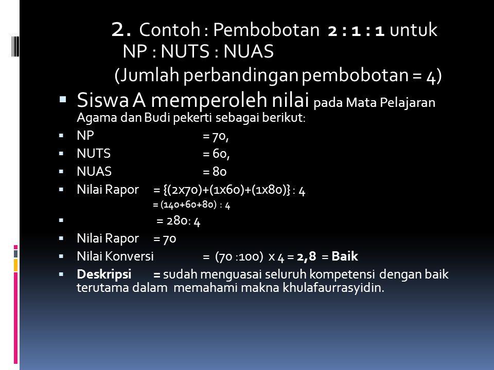 2. Contoh : Pembobotan 2 : 1 : 1 untuk NP : NUTS : NUAS