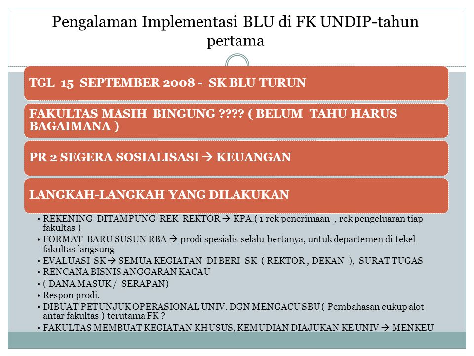 Pengalaman Implementasi BLU di FK UNDIP-tahun pertama