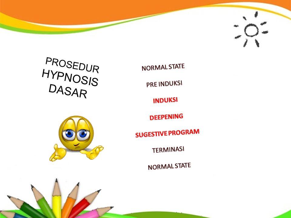 HYPNOSIS DASAR PROSEDUR NORMAL STATE PRE INDUKSI INDUKSI DEEPENING