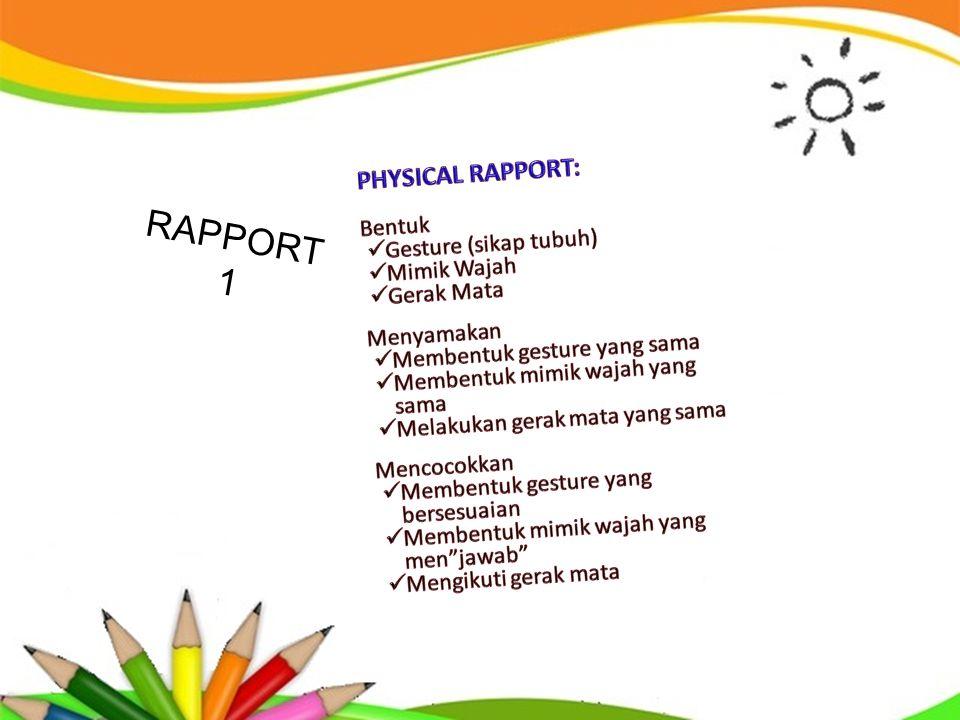 RAPPORT 1 PHYSICAL RAPPORT: Bentuk Gesture (sikap tubuh) Mimik Wajah