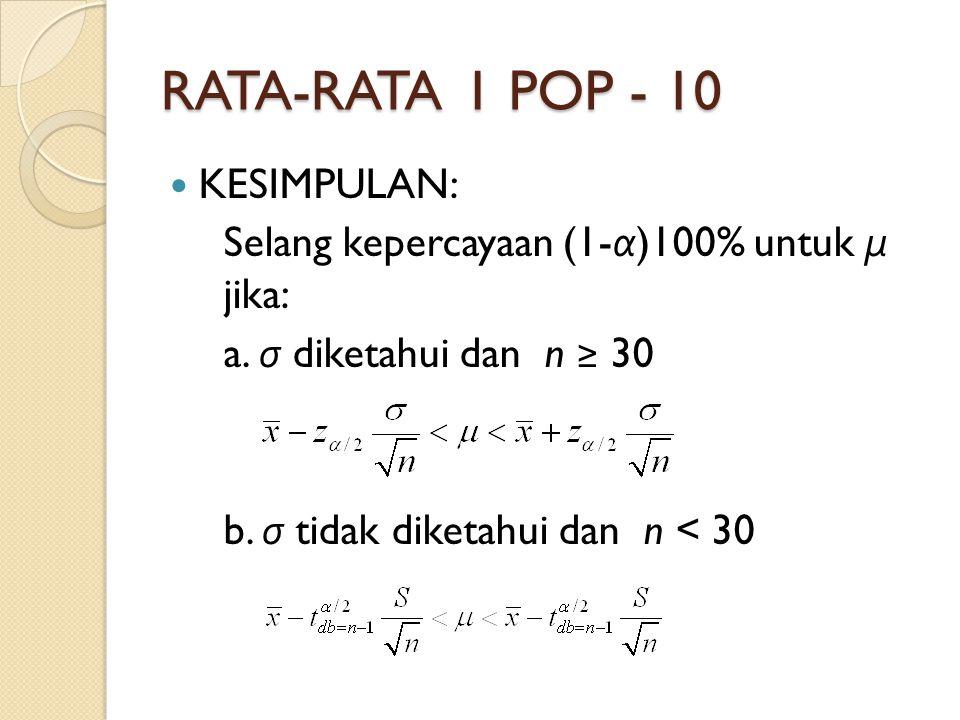 RATA-RATA 1 POP - 10 KESIMPULAN: