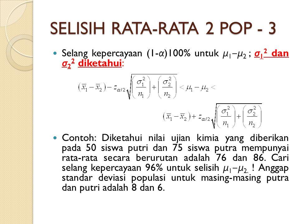 SELISIH RATA-RATA 2 POP - 3