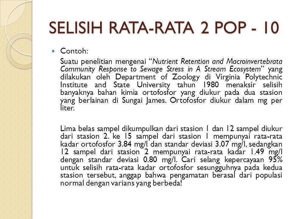 SELISIH RATA-RATA 2 POP - 10