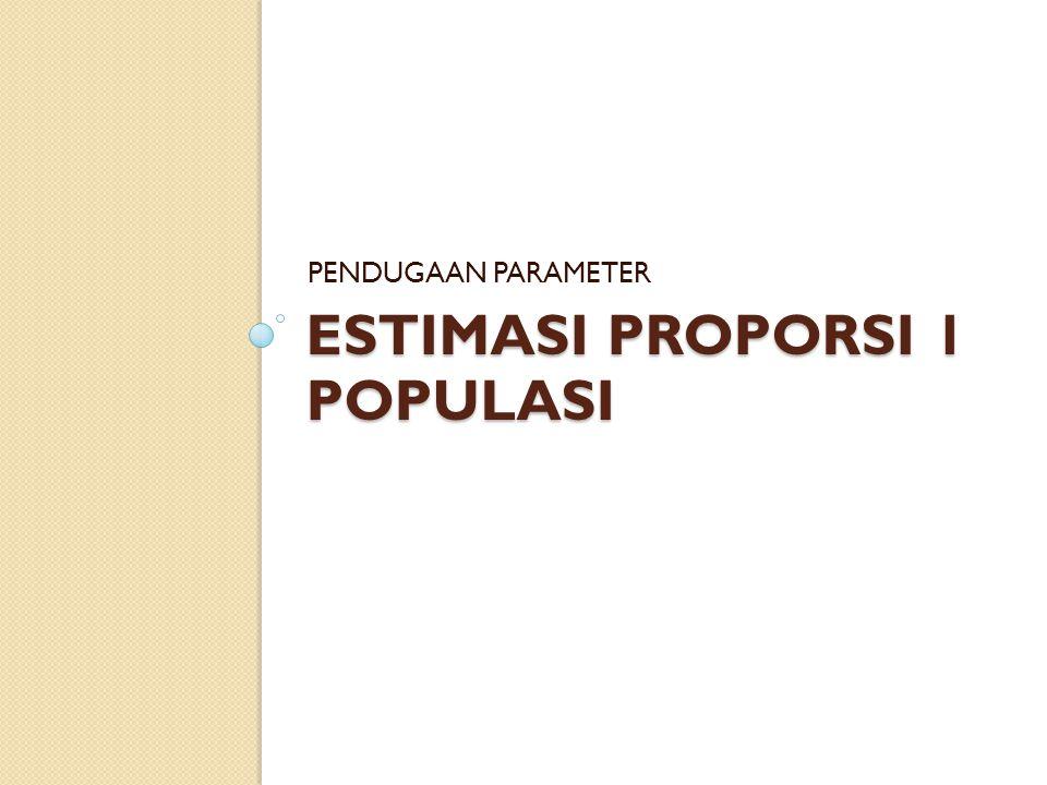 ESTIMASI PROPORSI 1 POPULASI