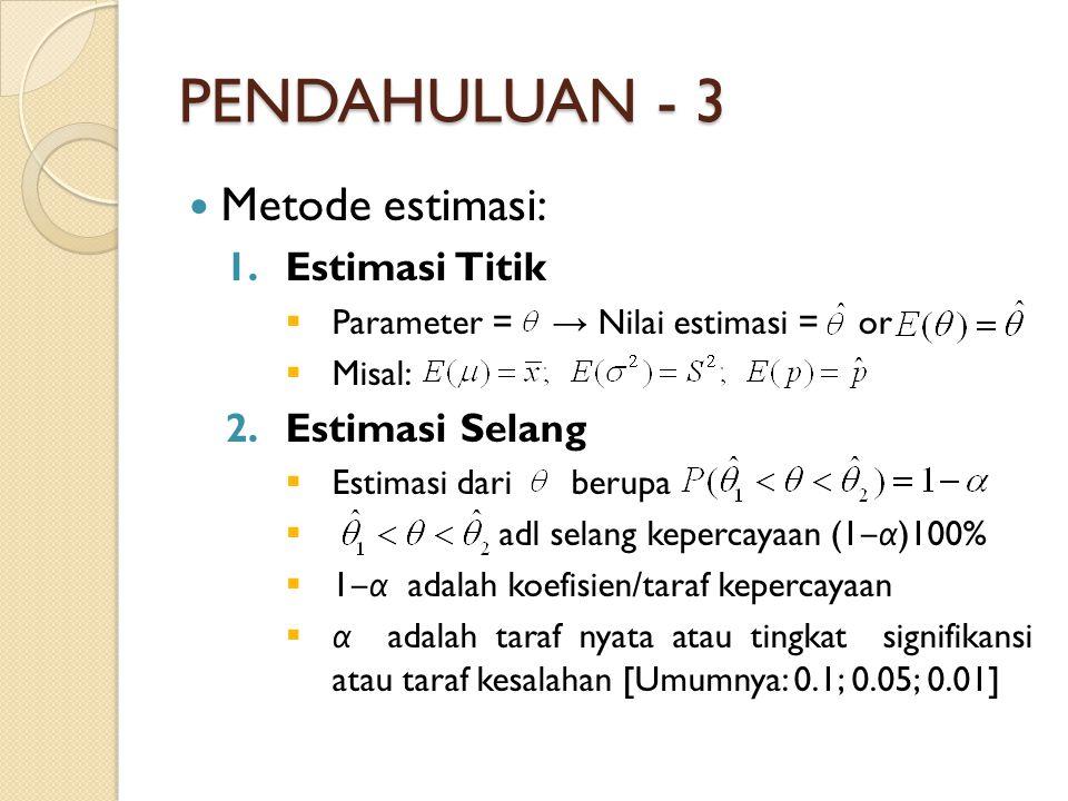 PENDAHULUAN - 3 Metode estimasi: Estimasi Titik Estimasi Selang