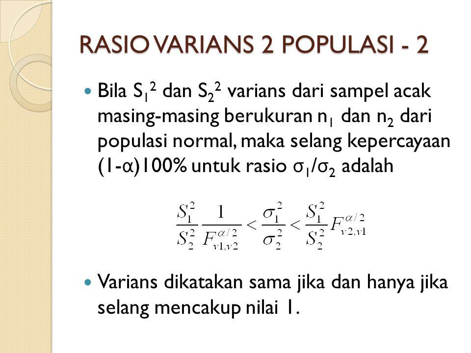RASIO VARIANS 2 POPULASI - 2