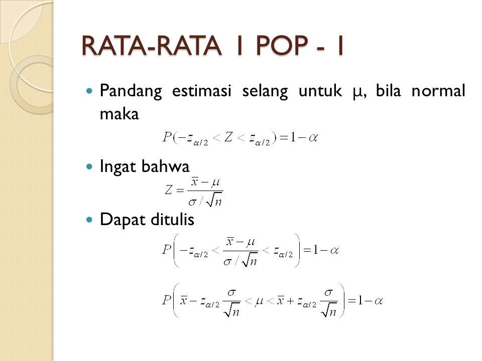 RATA-RATA 1 POP - 1 Pandang estimasi selang untuk μ, bila normal maka
