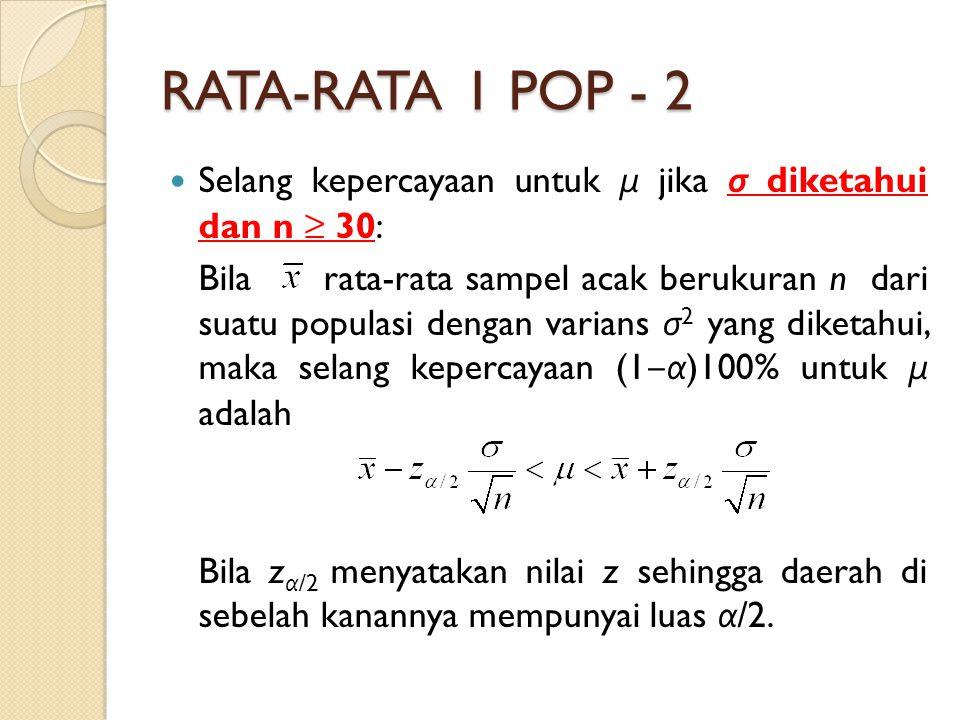 RATA-RATA 1 POP - 2 Selang kepercayaan untuk μ jika σ diketahui dan n ≥ 30: