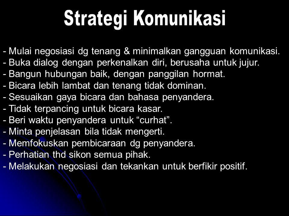Strategi Komunikasi - Mulai negosiasi dg tenang & minimalkan gangguan komunikasi. - Buka dialog dengan perkenalkan diri, berusaha untuk jujur.