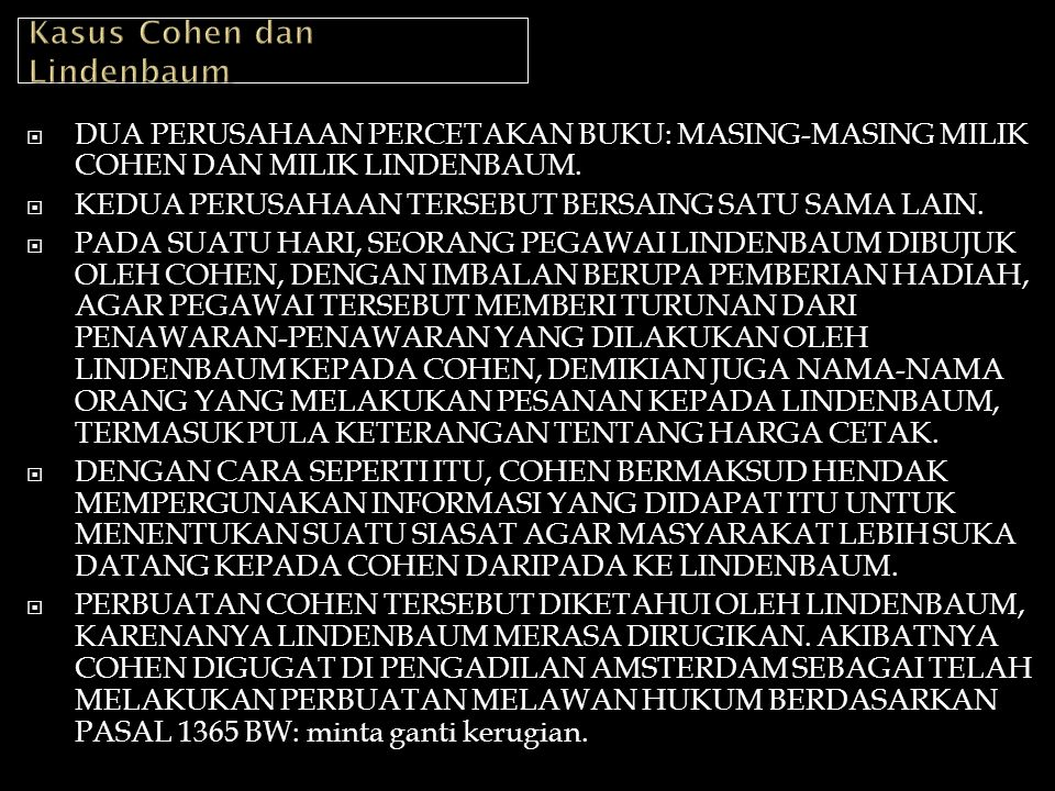 Kasus Cohen dan Lindenbaum