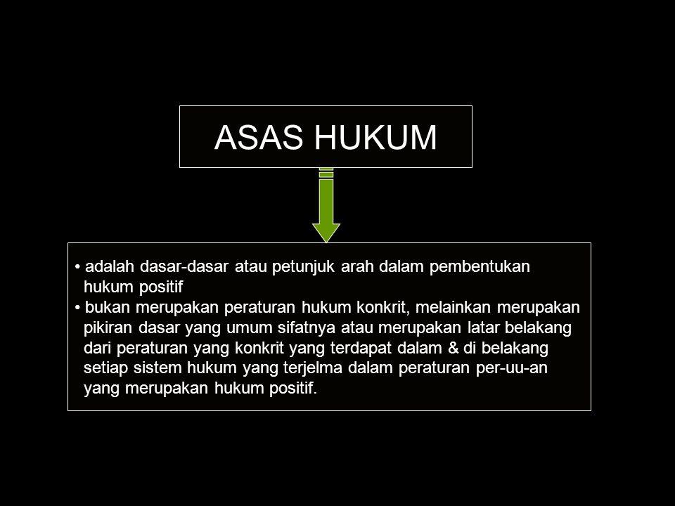 ASAS HUKUM adalah dasar-dasar atau petunjuk arah dalam pembentukan