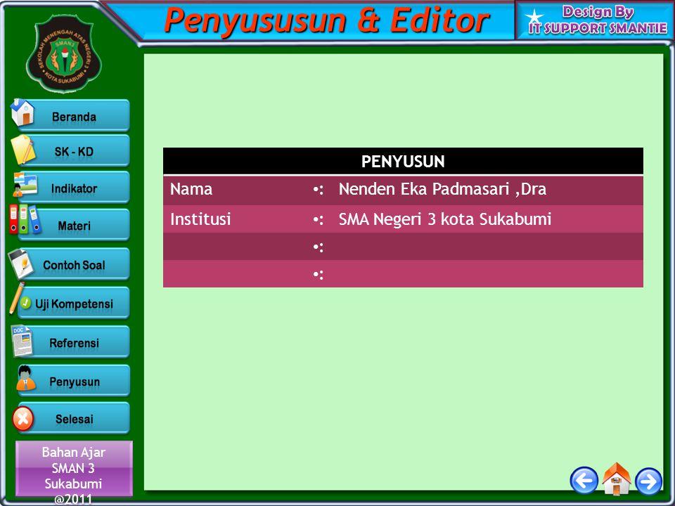 Penyususun & Editor PENYUSUN Nama : Nenden Eka Padmasari ,Dra