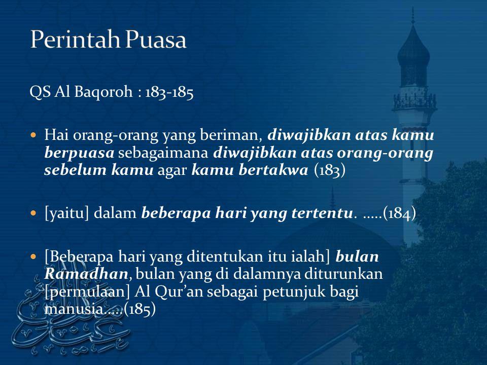 Perintah Puasa QS Al Baqoroh : 183-185