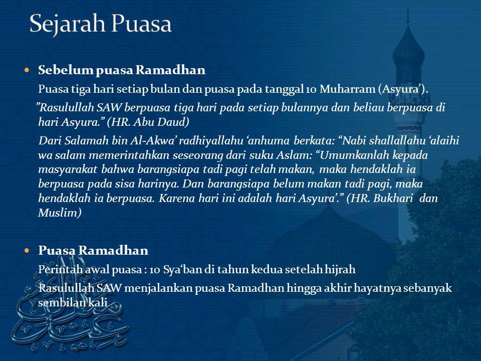 Sejarah Puasa Sebelum puasa Ramadhan Puasa Ramadhan