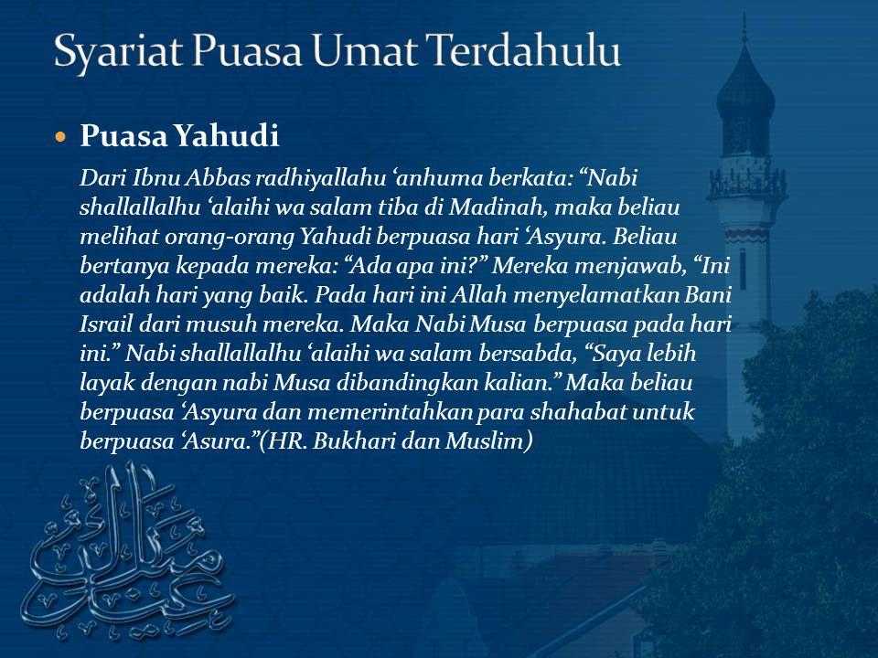 Syariat Puasa Umat Terdahulu
