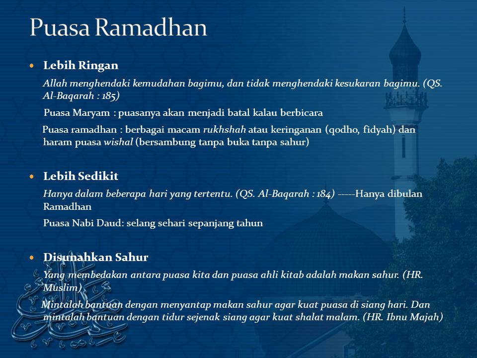Puasa Ramadhan Lebih Ringan Lebih Sedikit Disunahkan Sahur
