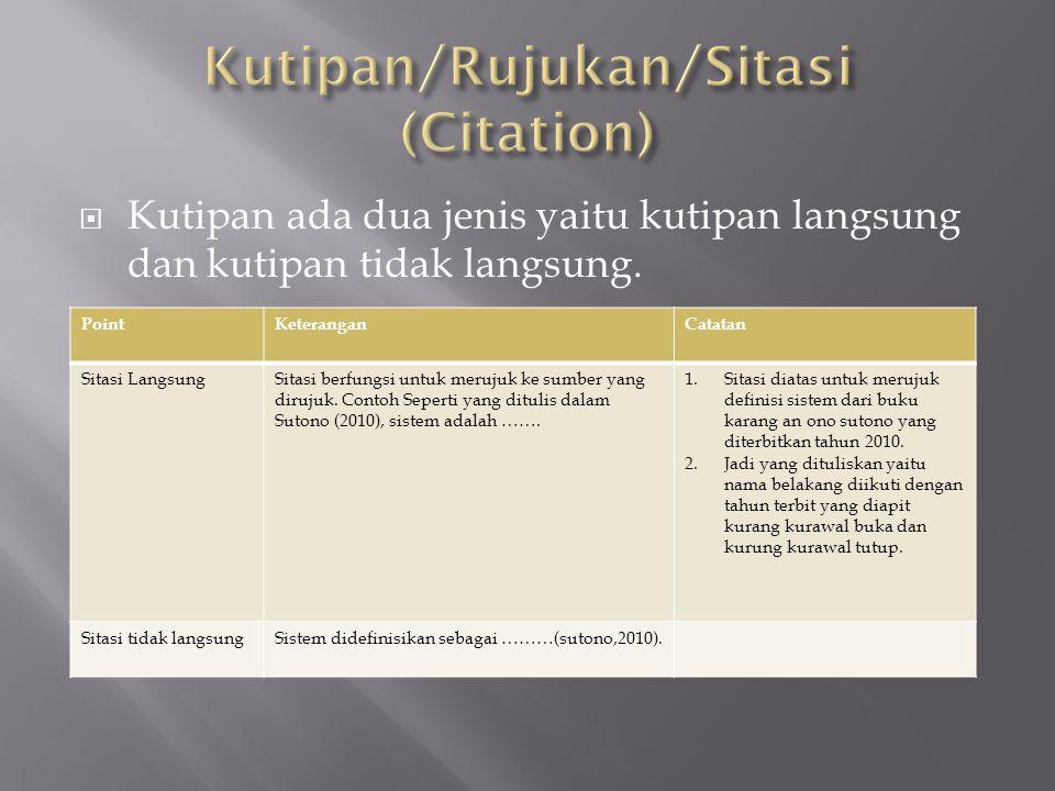 Kutipan/Rujukan/Sitasi (Citation)